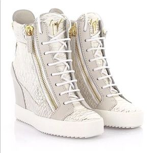 Giuseppe Zanotti White Croc Wedge Sneakers